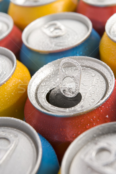 Close Up Of Multi Colored Soda Cans With One Open Stock photo © monkey_business
