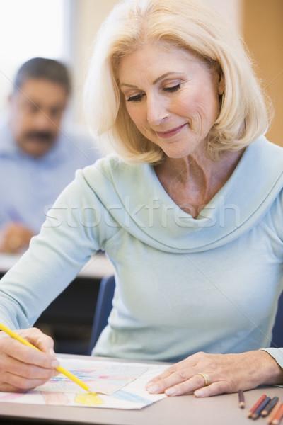 Mature female student in art class Stock photo © monkey_business
