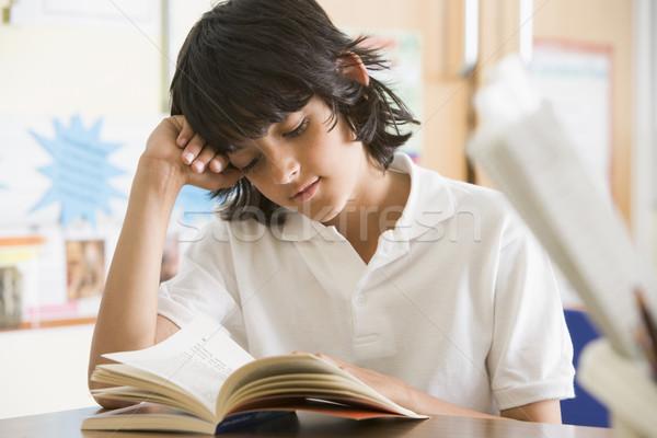 Сток-фото: школьник · чтение · книга · класс · школы · образование