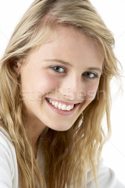 Stockfoto: Portret · glimlachend · tienermeisje · tanden · jonge · tiener