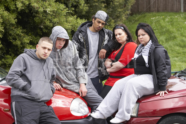 Gang Of Youths Sitting On Cars Stock photo © monkey_business