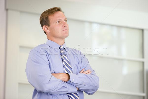Foto stock: Empresário · em · pé · negócio · homem · feliz