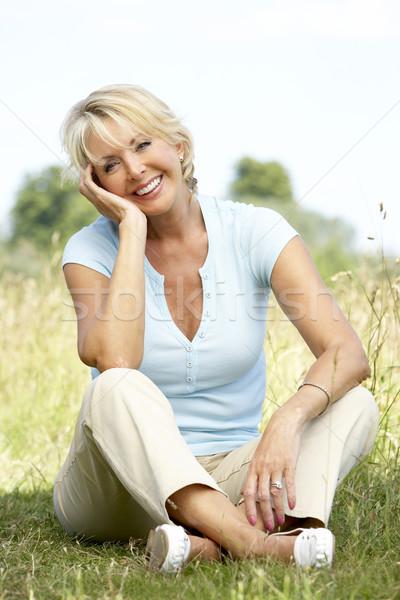 Сток-фото: портрет · сидят · женщину · человек
