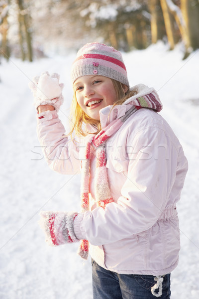 Girl About To Throw Snowball In Snowy Woodland Stock photo © monkey_business
