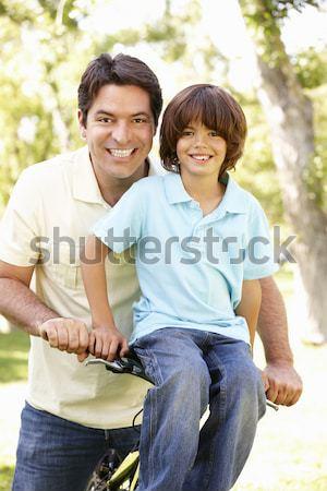 Foto stock: Filho · pai · ao · ar · livre · outono · andar · homem