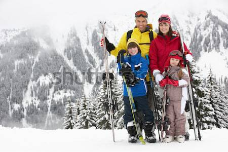 Young Couple Sledging Down Hill With Family Watching Stock photo © monkey_business