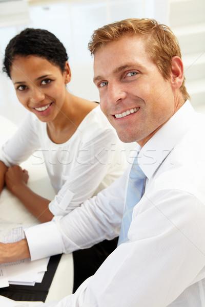üzleti megbeszélés iroda nők megbeszélés boldog asztal Stock fotó © monkey_business