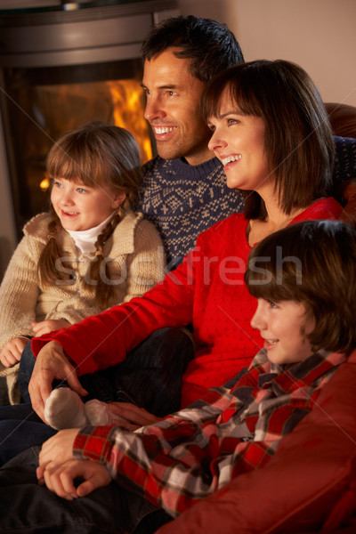 Family Relaxing Watching TV By Cosy Log Fire Stock photo © monkey_business