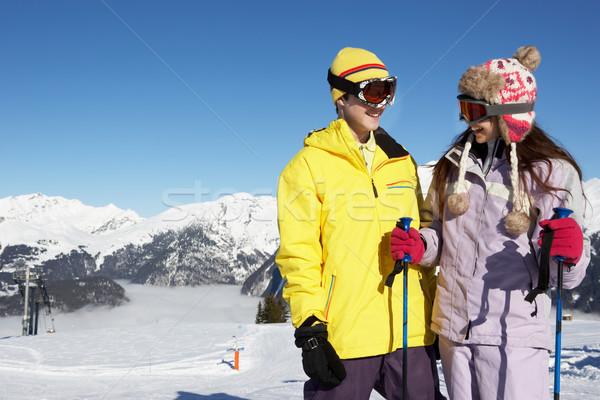 ストックフォト: 2 · 青少年 · スキー · 休日 · 山 · 少女
