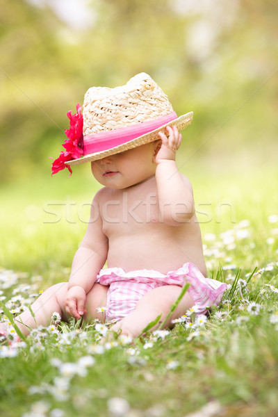 Baby Girl In Summer Dress Sitting In Field Wearing Straw Hat Stock photo © monkey_business