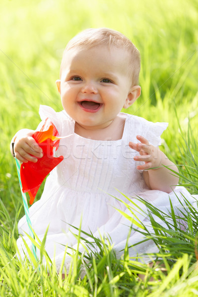 Baby Girl In Summer Dress Sitting In Field Holding Windmill Stock photo © monkey_business
