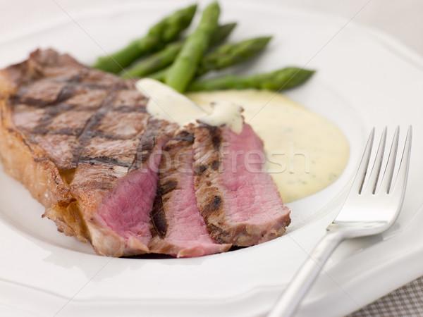 Biefstuk asperges voedsel diner plantaardige maaltijd Stockfoto © monkey_business