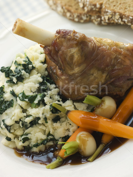 Slow Roasted Spring Lamb Shank with Colcannon and Soda Bread Stock photo © monkey_business