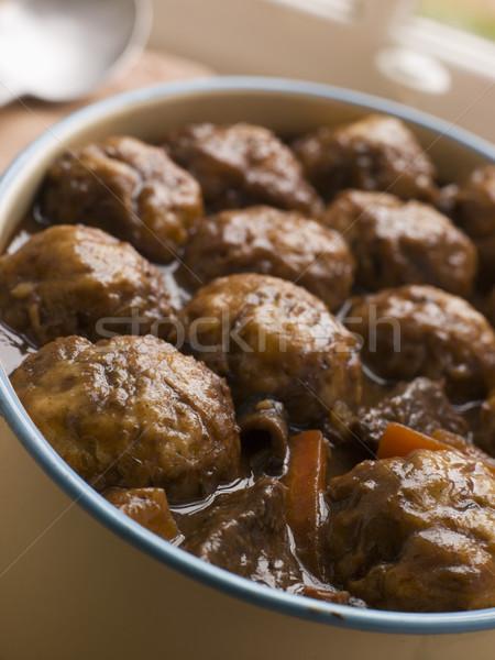 Sığır eti güveç ot havuç kaşık yemek sığır eti Stok fotoğraf © monkey_business