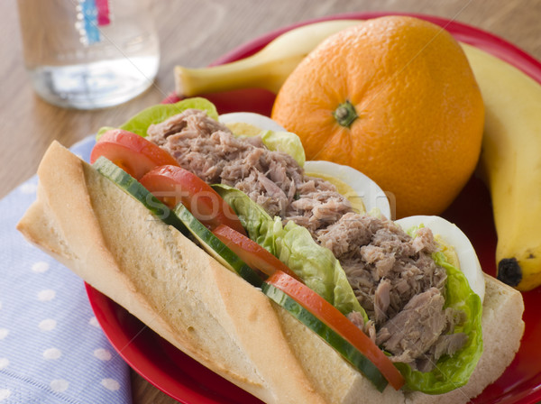 Tuna Egg and Salad Baguette with Fresh Fruit Stock photo © monkey_business