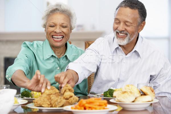 Casal almoço juntos casa mulher homem Foto stock © monkey_business