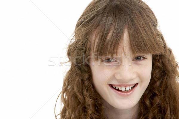 Stock fotó: Portré · boldog · fiatal · lány · gyerekek · gyermek · szín