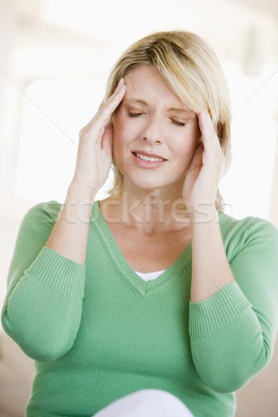 Stock fotó: Nő · fejfájás · egészség · beteg · szín · kaukázusi