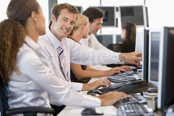 Foto stock: Stock · de · trabajo · computadoras · ordenador · hombre · feliz