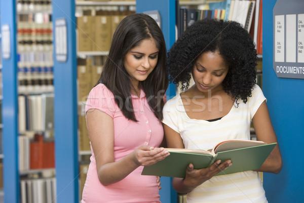Zdjęcia stock: Dwa · studentów · pracy · uczelni · biblioteki · kobiet