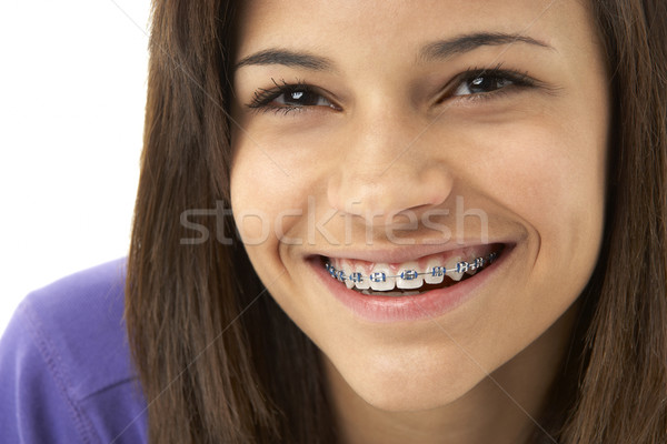 Estúdio retrato sorridente menina cara Foto stock © monkey_business