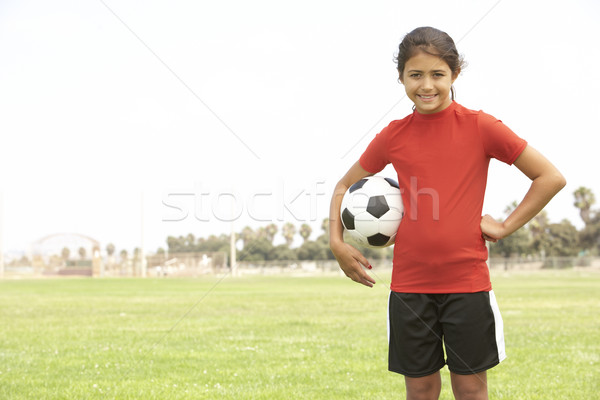 Foto stock: Jovem · futebol · equipe · crianças · criança · feminino