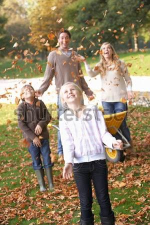 Csoport tini barátok dob levelek ősz Stock fotó © monkey_business