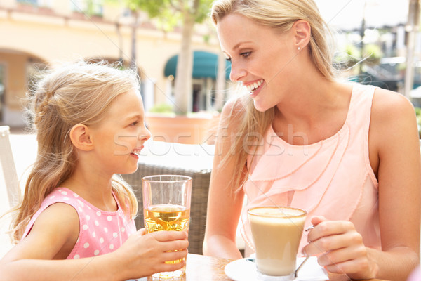 Mother And Daughter Enjoying Cup Of Coffee And Juice In Caf Stock photo © monkey_business