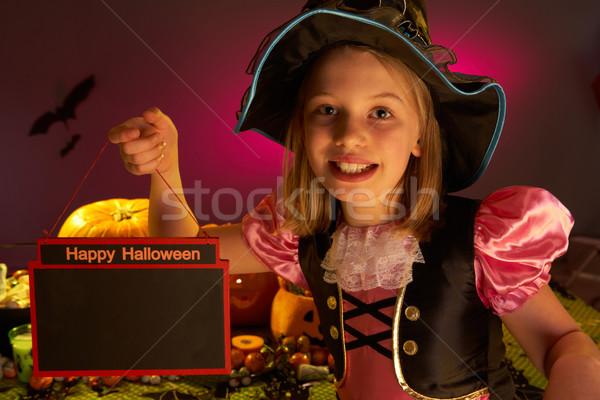 Stock fotó: Halloween · buli · gyermek · tart · felirat · kéz