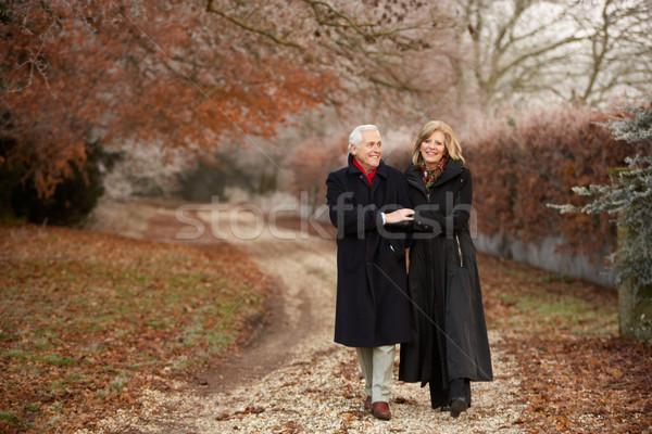 Starszy para zimą chodzić mroźny krajobraz człowiek Zdjęcia stock © monkey_business