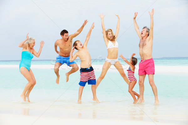 Multi Generation Family Having Fun In Sea On Beach Holiday Stock photo © monkey_business