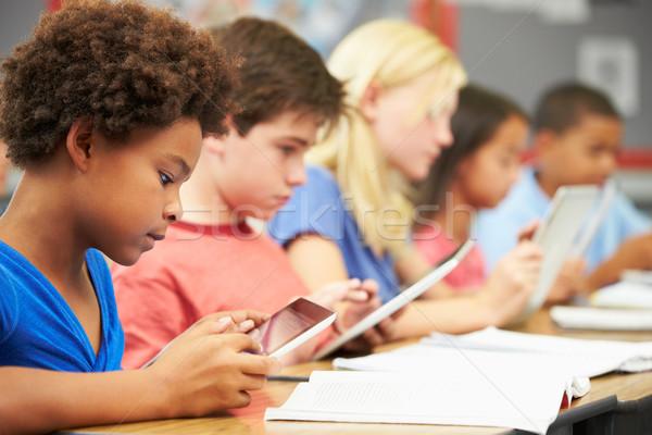 Stockfoto: Leerlingen · klasse · digitale · tablet · kind · onderwijs