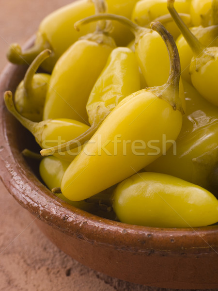 Pickled Californian Chillies in a Dish Stock photo © monkey_business