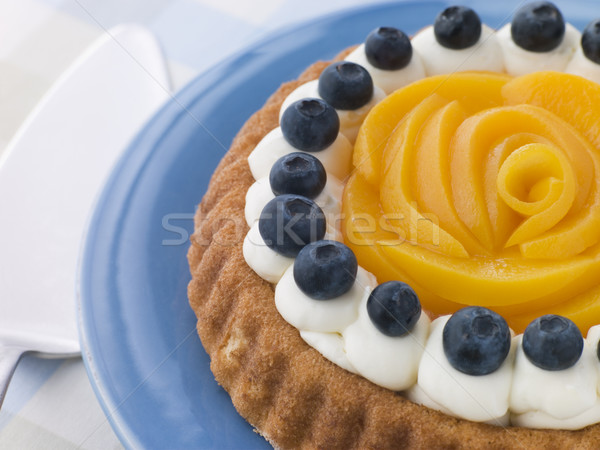 Whipped Cream Peach and Blueberry Sponge Flan Stock photo © monkey_business