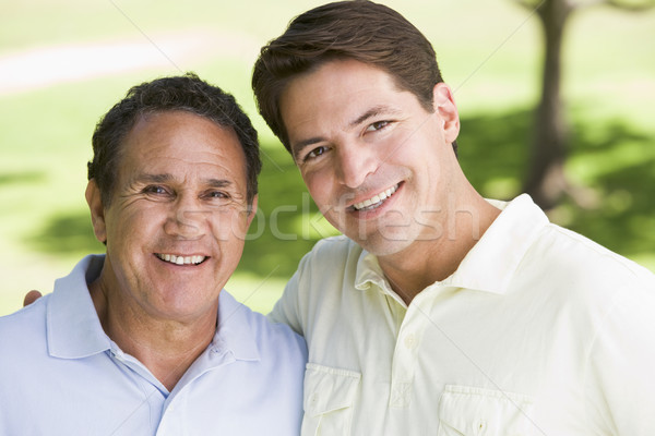 двое мужчин Постоянный улице улыбаясь любви ребенка Сток-фото © monkey_business
