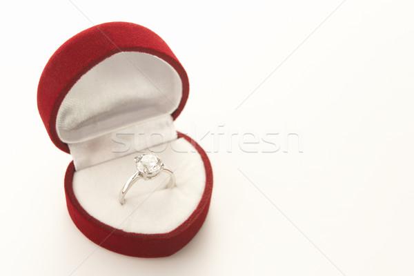 Diamant Engagement Herz Ring Feld Stock foto © monkey_business