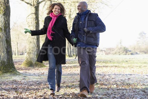 Stock fotó: Pár · ősz · séta · férfi · boldog · tél