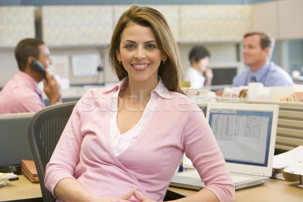 Сток-фото: деловая · женщина · кабина · улыбаясь · женщину · служба · счастливым