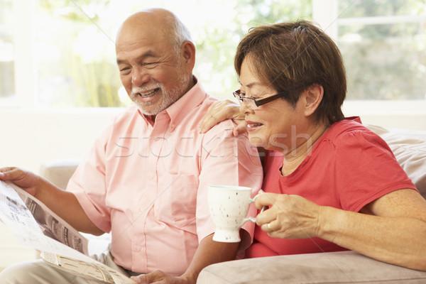 Photo stock: Couple · de · personnes · âgées · lecture · journal · maison · femme · café