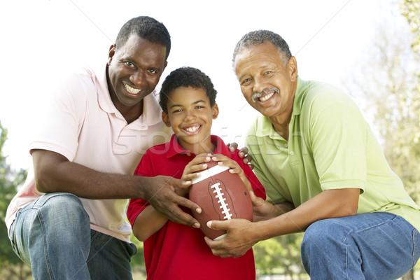 Stockfoto: Grootvader · zoon · kleinzoon · park · amerikaanse · voetbal