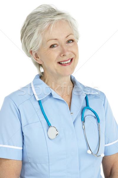Foto d'archivio: Studio · ritratto · senior · infermiera · donna · medico