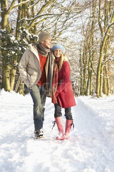 Сток-фото: пару · ходьбе · человека · снега · зима · портрет