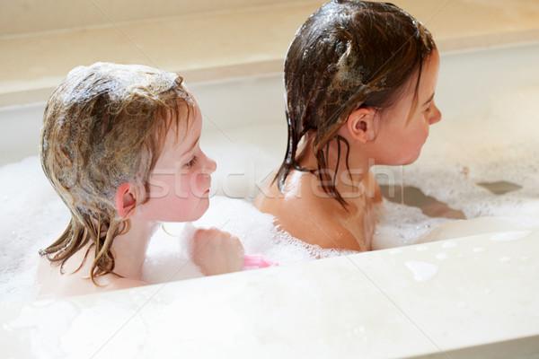 2 女の子 泡風呂 少女 幸せ ストックフォト © monkey_business