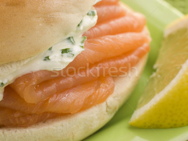 Smoked Salmon and Cream Cheese Bagel with a wedge of Lemon Stock photo © monkey_business