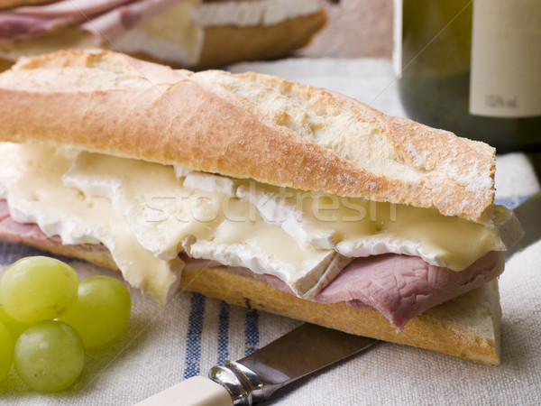 Brie and Ham Baguette with White Wine and Grapes Stock photo © monkey_business