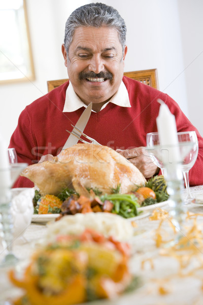 Senior Man Excitedly Getting Ready To Carve The Turkey Stock photo © monkey_business