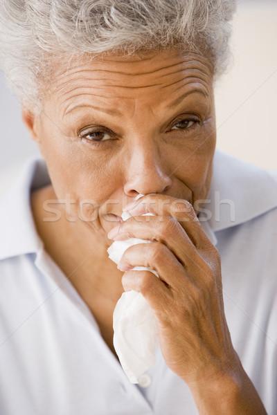 Photo stock: Femme · moucher · santé · malade · supérieurs · froid