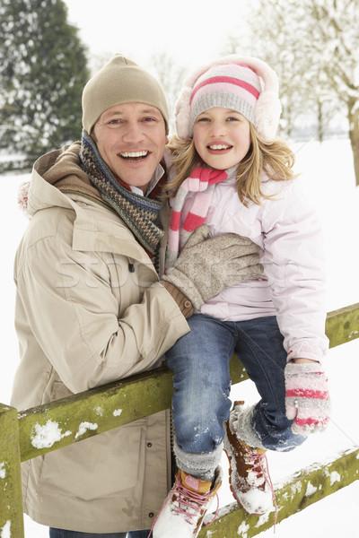 Stockfoto: Vader · dochter · permanente · buiten · landschap · sneeuw