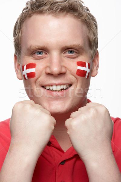 Genç erkek spor fan bayrak boyalı Stok fotoğraf © monkey_business