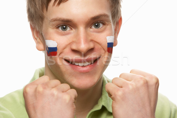 Young Male Sports Fan With Slovakian Flag Painted On Face Stock photo © monkey_business